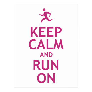 Keep Calm and Run On Postcard