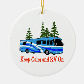 Keep Calm And RV On Round Ceramic Decoration