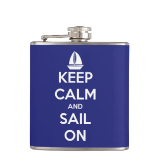 Keep Calm and Sail On Blue Personalized Hip Flask