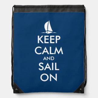 Keep calm and sail on drawstring bag backpack