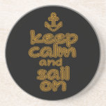 Keep Calm And Sail On Rope Knot Style Drink Coaster