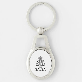 KEEP CALM AND SALSA Silver-Colored OVAL KEY RING
