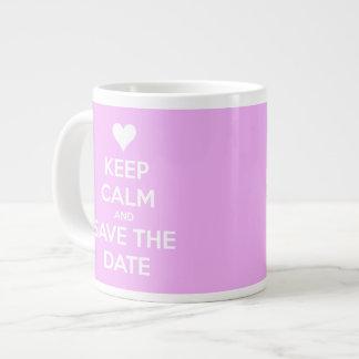 Keep Calm and Save the Date Personalized Pink Mug 20 Oz Large Ceramic Coffee Mug