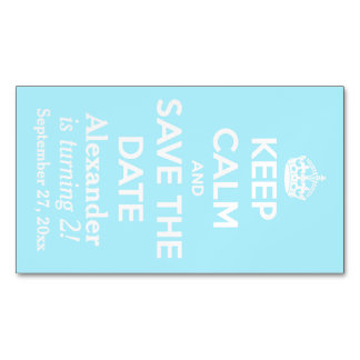 Keep Calm and Save the Date Summer Sky Blue Magnetic Business Cards