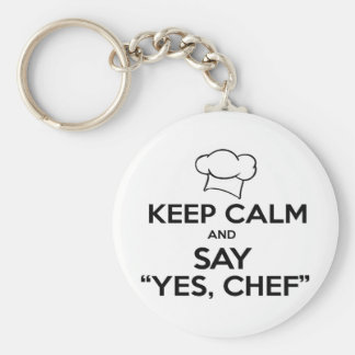 Keep Calm and Say Yes Chef Funny Kitchen Ware Basic Round Button Key Ring