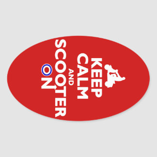 Keep Calm and Scooter On Oval Stickers