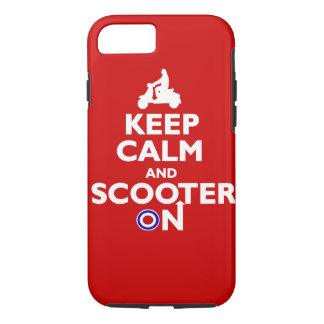 Keep calm and scooter on Red White iPhone 8/7 Case