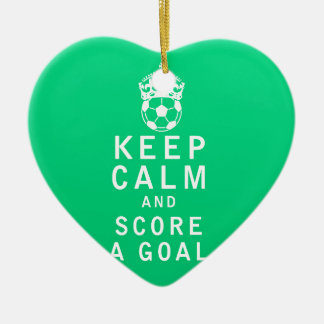 Keep Calm and Score a Goal Ceramic Heart Decoration