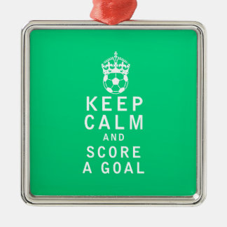 Keep Calm and Score a Goal Silver-Colored Square Decoration