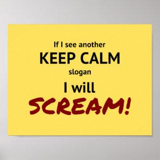 keep calm and scream parody slogan poster