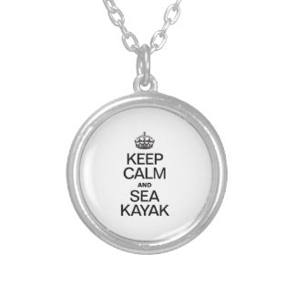 KEEP CALM AND SEA KAYAK ROUND PENDANT NECKLACE
