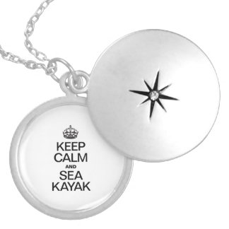 KEEP CALM AND SEA KAYAK ROUND LOCKET NECKLACE