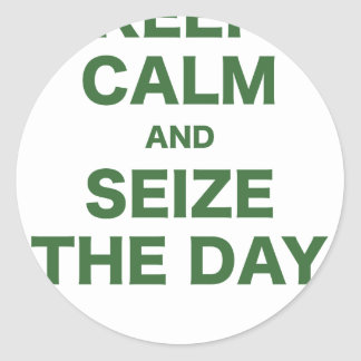 Keep Calm and Seize the Day Round Stickers