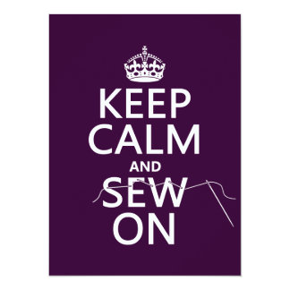 Keep Calm and Sew On (in all colors) 14 Cm X 19 Cm Invitation Card