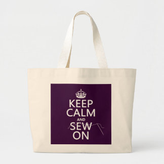 Keep Calm and Sew On (in all colors) Large Tote Bag