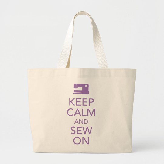 Keep Calm and Sew On Purple Tote Bag