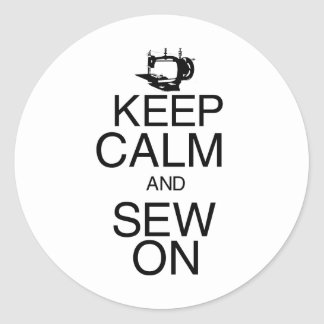 Keep Calm and Sew On Round Sticker