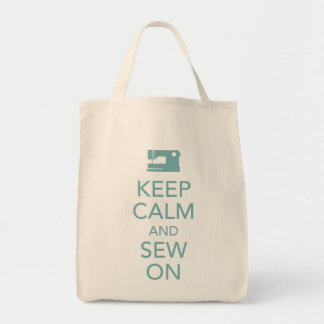 Keep Calm and Sew On Teal Tote Bag