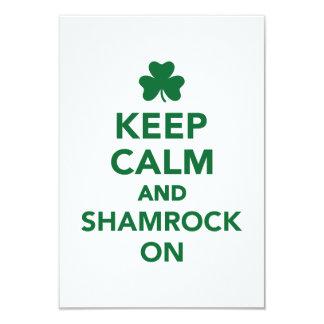 "Keep calm and shamrock on 3.5"" x 5"" invitation card"