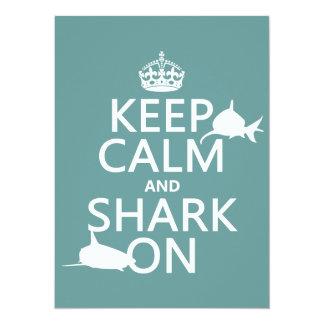 Keep Calm and Shark On (customizable colors) Card