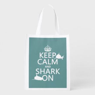 Keep Calm and Shark On (customizable colors) Reusable Grocery Bag