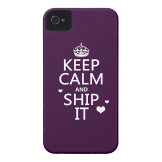 Keep Calm and Ship It (hearts) (in any color) iPhone 4 Case