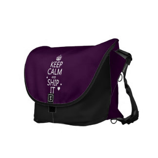 Keep Calm and Ship It hearts in any color Courier Bag