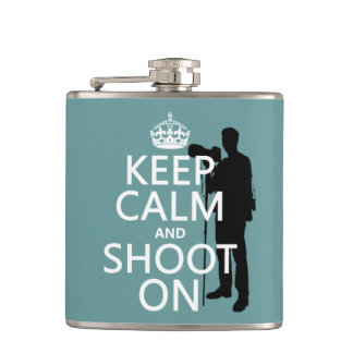 Keep Calm and Shoot On (photography) Hip Flask
