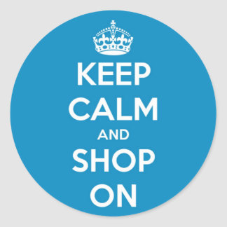 Keep Calm and Shop Bright Blue Round Sticker