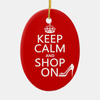 Keep Calm and Shop On - all colors Ceramic Oval Decoration