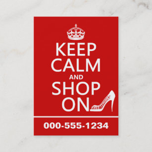 Shoe shop business cards zazzle uk keep calm and shop on all colours business card reheart Image collections