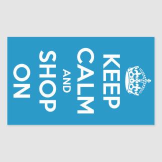Keep Calm and Shop On Blue Sticker
