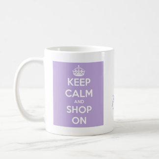 Keep Calm and Shop On Lavender Classic White Coffee Mug