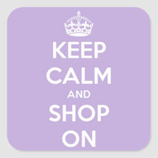 Keep Calm and Shop On Lavender Square Sticker
