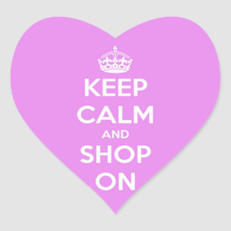 Keep Calm and Shop On Pink Heart Sticker