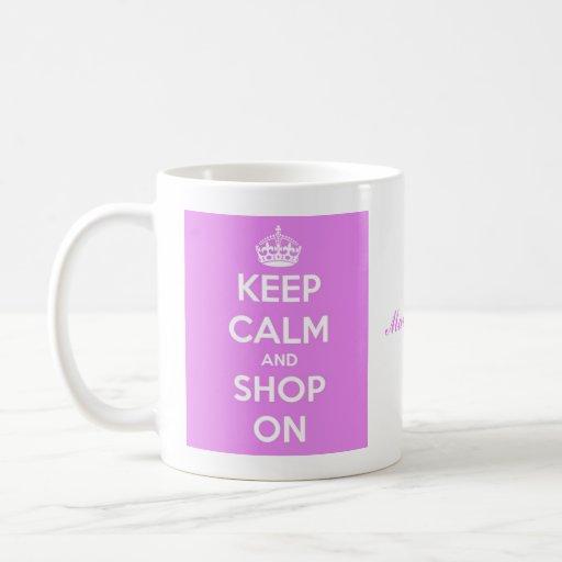 Keep Calm and Shop On Pink Coffee Mugs