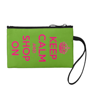Keep Calm and Shop On Pink on Green Personalized Change Purse
