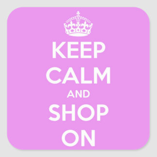Keep Calm and Shop On Pink Square Sticker