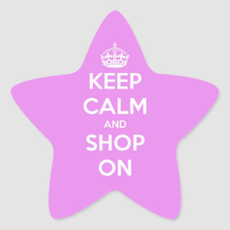 Keep Calm and Shop On Pink Star Sticker