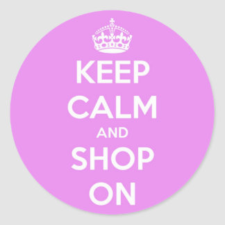 Keep Calm and Shop On Pink Stickers
