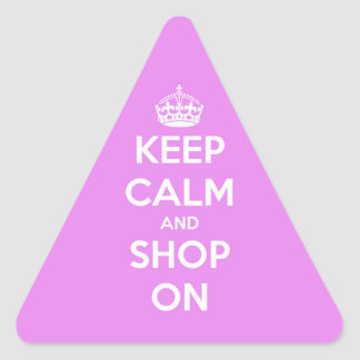 Keep Calm and Shop On Pink Triangle Sticker
