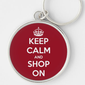 Keep Calm and Shop On Red and White Key Ring
