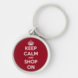 Keep Calm and Shop On Red and White Silver-Colored Round Key Ring