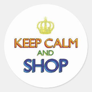 Keep Calm and Shop Round Sticker
