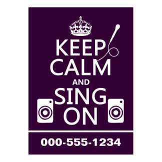 Keep Calm and Sing On (Karaoke) Pack Of Chubby Business Cards