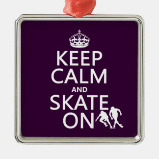 Keep Calm and Skate On (rollerskaters) Christmas Ornament