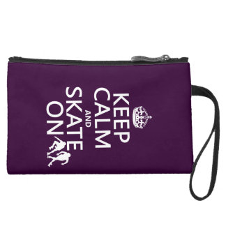 Keep Calm and Skate On (rollerskaters) Suede Wristlet
