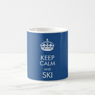 Keep calm and ski - customise text and colour basic white mug