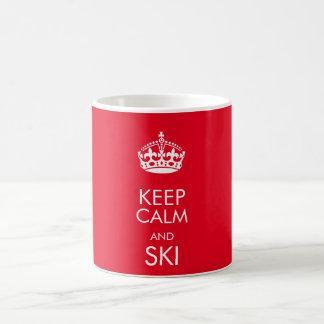 Keep calm and ski - customise text and colour coffee mug