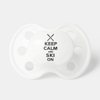 Keep calm and Ski on Baby Pacifier